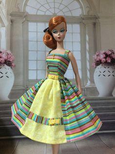 Handmade, OOAK Dress For Silkstone Barbie By GINA **SASSY STRIPES**