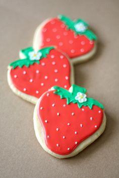 Hand Decorated Sugar Cookies Sweet Strawberries // 1 Dozen. $48.00, via Etsy.