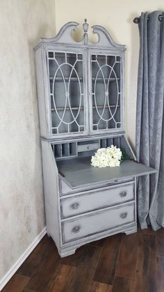Antique Drop Front Secretary Desk With Hutch China Cabinet Hand Painted And Distressed In