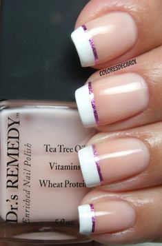 French tips with a sliver of pink! Use purple instead @Kristina Kilmer ONeill @Amanda Snelson Stewart