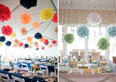 Pompones de papel seda para la decoración de tu casamiento