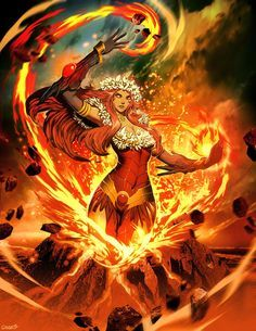 """Pele By GENZOMAN  In the Hawaiian religion, Pele, the Fire Goddess, is the goddess of fire, lightning, wind and volcanoes and the creator of the Hawaiian Islands. Often referred to as """"Madame Pele"""" or """"Tūtū Pele"""" as a sign of respect, she is a well-known deity within Hawaiian mythology."""