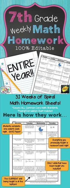 7th Grade Math Spiral Review   7th Grade Math Homework or Warm Ups ...
