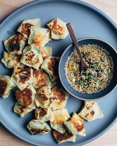 A recipe for gingered Brussels sprout and shiitake pot stickers with an irresistible maple soy dipping sauce. /