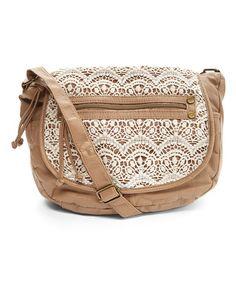 Look at this #zulilyfind! Sand Crochet Flap Crossbody Bag #zulilyfinds