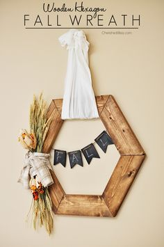Hexagon Wooden Fall Wreath Tutorial | The perfect rustic accent to this years fall decor!