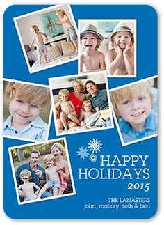 Tilted Fun Holiday Card, Rounded Corners, Blue