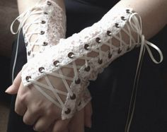 Lace Petite Fleur Corset Cuffs Victorian laceup Wrist Warmers Design Your Own Lace Fingerless Gloves Vetement Hip Hop, Mode Outfits, Fashion Outfits, Fashion Goth, Mode Sombre, Forest Fairy, Swagg, Aesthetic Clothes, Aesthetic Outfit