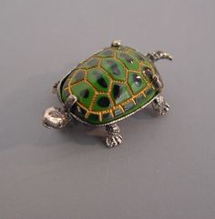 BEAU sterling and green enamel turtle scatter pin
