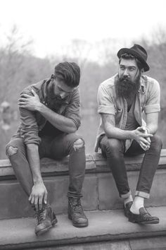 Joel Alexander and Lane Toran - full thick dark #beards and mustaches #beard mustache #beardedmen man mens' street style fashion