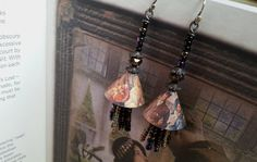 Recycled Tin & Seed Bead Tassel  Drop Earrings. 'The by Aprilands