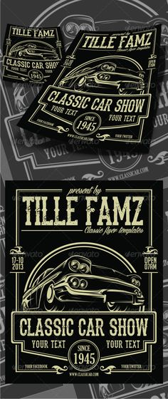 Classic Car Show Flyer #GraphicRiver -300DPI -With size 8.5×11 -CMYK color Fonts used: .dafont /the-dead-saloon.font .dafont /angilla-tattoo.font .dafont /bignoodle-titling.font .dafont /thereconlegendfont.font the text and slogan Full Instruction and Font Name/Link are provided in README file Cheers….! Created: 12October13 GraphicsFilesIncluded: PhotoshopPSD #VectorEPS #AIIllustrator Layered: No MinimumAdobeCSVersion: CS PrintDimensions: 8.5x11 Tags: auto #automotivedesign #automotivelogo…