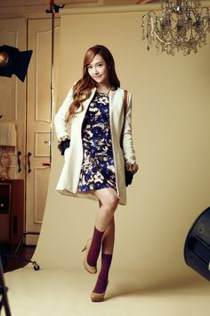 Blue floral pattern and white coat <3