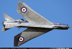English Electric Lightning with fuselage air brakes deployed. Extreme sweepback wing delays speed of sound onset of shockwaves.