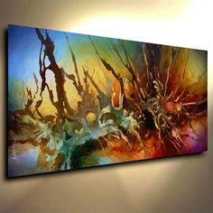 Abstract Painting Modern Contemporary original Art Decor Mix Lang cert. unique…