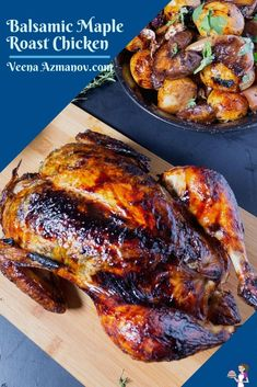 This roast chicken is flavored with maple syrup and balsamic vinegar. Accompanied by baby potatoes and grapes, which add a wonderful fruity flavor to the final gravy. Also, the leftover chicken, if any, makes the most delicious sandwiches and wraps #roastchicken #chicken #balsamicchickenroast #maplechickenroast #thanksgivingroastchicken #christmasroastchicken