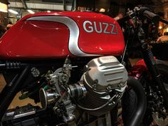 "two-gun-salute: ""⚡️ Awesome Guzzi Le Mans by @guz_guz_850 down @bikeshedmc tonight - come check it out while you knock a few back in celebration of their big 1 ⚡️#bikeshed #motoguzzi #lemans #italianbike #shafty #shedbuilt #custombike #motorcycle..."