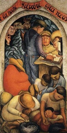 Night of the Poor mural by Diego Rivera, 1928. North wall, Courtyard of the Fiestas, Ministry of Education, Mexico City. One in a series of panels, depicting the contrasts between the ideals and achievements of the revolution, and the biting criticism of its opponents and detractors