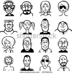 whiteboard drawing - doodle faces set