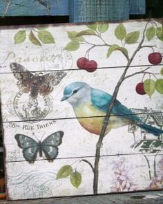 Wooden botanical bird pictures