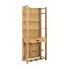 Fans of Swedish-inspired furniture will gravitate toward this Blonde Morgon Bookcase for its sheer beauty and simplicity of design. We loved its interesting combination of blonde oak and glass shelves....  Find the Blonde Morgon Bookcase, as seen in the Modern Beachside Bungalow Collection at http://dotandbo.com/collections/modern-beachside-bungalow?utm_source=pinterest