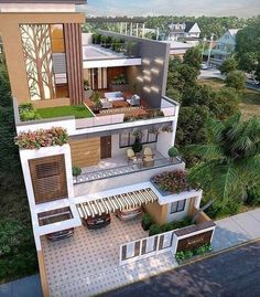 You can turn your house into a very nice place. There are many opinions for decorating your home with designs. Modern Exterior House Designs, Modern House Facades, Dream House Exterior, Modern House Plans, Exterior Design, Modern Houses, 3 Storey House Design, Bungalow House Design, House Front Design