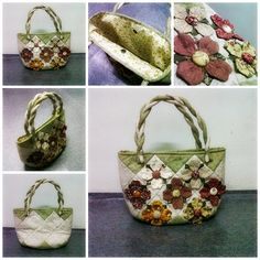 6th assignment, rombus handbag with flower- #patchwork #quilting #stitch binding #hand stiches #fabric flower
