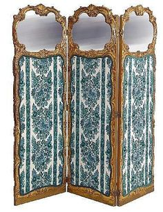 19th C. French Carved Giltwood Three Fold Screen of Louis XV design, decorative scroll framing, the upper sections mirrored, the lower with floral printed fabric, 5ft9inh x 6ftw