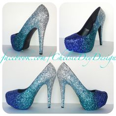 I feel like you could make these Faded Blues Glitter High Heels by ChelsieDeyDesigns on Etsy find more women fashion ideas on www.misspool.com