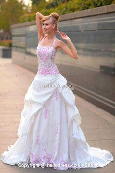 Halter Neckline Satin Embroidery Princess Ruffles 2014 Wedding Dress