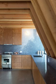 Whistler Cabin by Scott and Scott Architects. Marble from Hisnet Inlet quarry on Vancouver island.