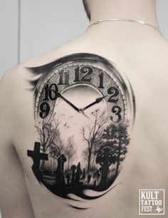 Time and death tattoo. b&w