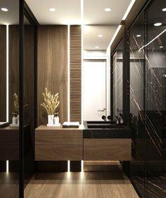 Die Bodenspiegel verleihen dem Raum ein helles und großes Aussehen. Die Mamorwände sorgen daraufhin für ein extravagantes und luxuriöses Design. Gerne würden wir Sie hierzu näher beraten. #kizilinteriorservice #interiordesign #homedesign #home #design #wohnen #plana #inspo #modern #modernhouse #modernhousedesign #home #luxury Quelle: Behance Washroom Design, Toilet Design, Bathroom Design Luxury, Bad Inspiration, Bathroom Inspiration, Interior Inspiration, Interior Design Photography, Dark Interiors, Luxurious Bedrooms