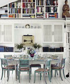 bluish teal chairs - legs well distressed on edges - shabbied white table - painted white floor