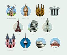 Famous landmarks on behance travel en 2019 city icon, instag City Icon, Travel Icon, Illustration, European Destination, Famous Landmarks, Creative Skills, Instagram Highlight Icons, Motion Design, Icon Design