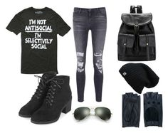 """""""Selectively Social"""" by dream-catcher-316 on Polyvore featuring J Brand, Topshop, Ray-Ban and Zanellato"""