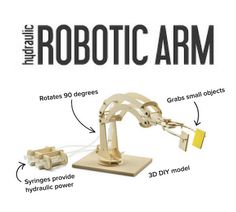 This do-it-yourself model takes about an hour to assemble and makes it fun to learn about robotics, levers, fluid dynamics and engineering principles. Clever Kids, Fluid Dynamics, Robot Arm, Consumer Products, Robotics, Toy Store, Marbles, Plywood, Originals