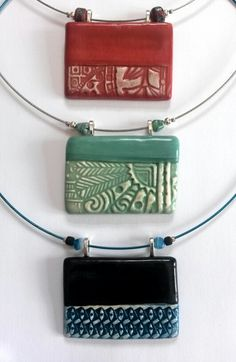 Pendants on wire chokers.  Ceramic Jewellery by Christine Gittins www.christinegittins.com