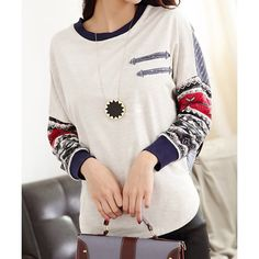 Stylish Jewel Neck Batwing Sleeves Color Splicing T-Shirt For Women