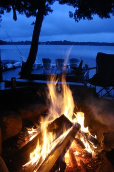 Nothing better than a bonfire at our cottage. Muskoka Lakes, Ontario - 2010.