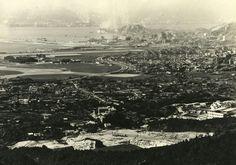"""1957年、黃大仙竹園之山上,遠景可見第一代機場跑道之尾部份大平地,有車路分隔,早期稱""""清水灣道""""後改稱""""彩虹道""""現在那部份為""""啟德花園、大成街街市"""" Kai Tak Airport, British Hong Kong, China Hong Kong, Those Were The Days, Old Photos, 19th Century, Past, Old Things, History"""