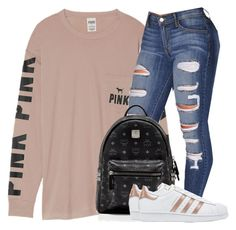 """Casual"" by oshonsparkles ❤ liked on Polyvore featuring Victoria's Secret, MCM and adidas Originals"
