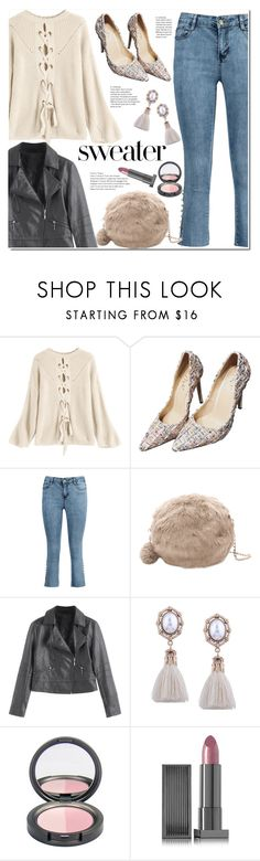 """Convertible Lace-up Sweater Apricot"" by duma-duma ❤ liked on Polyvore featuring Lipstick Queen"