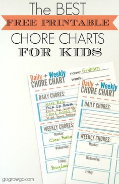 The best free and cute daily + weekly chore chart printable for kids!  What a great idea for keeping kids motivated.  The post even provides a few tips on how to assign chores.