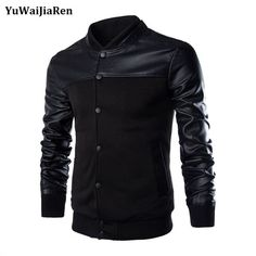 Check lastest price YuWaiJiaRen PU Leather Sleeve Jackets Spring Autumn Slim Casual Jackets Stand Collar Patchwork  Men Bomber Jackets And Coats just only $21.66 with free shipping worldwide  #jacketscoatsformen Plese click on picture to see our special price for you