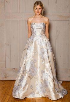 David's Bridal Fall 2016 ivory floral printed wedding dress