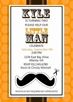 If Chris still has a mustache on our little guys 1st birthday this would be a great invitation