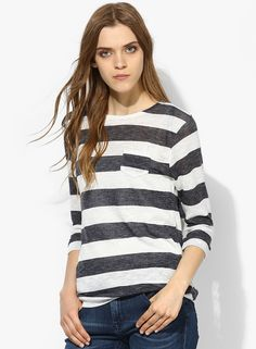 Tom Tailor Navy Blue Striped Blouse for Women@looksgud #Tom Tailor #Navy Blue #Striped