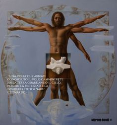 OMAGGIO ALEONARDO, oil on shaped canvas and Statuario marble sculpture, cm. 180x180