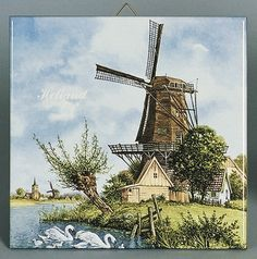 Ceramic collectible scenic tile made in Holland featuring a Dutch scene of a windmill next to a river with swans which is painted by famous Dutch landscape artist JC van Hunnik. Approximate Dimensions (Length x Width x Height): Material Type: Ceramic Windmills In Amsterdam, Holland Windmills, Delft, Windmill Art, Pebble Painting, Naive Art, Le Moulin, Landscape Art, Netherlands